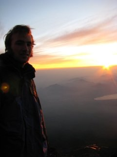 "View of the sunrise from atop Fuji-san (my only ""horizon"" photo)"